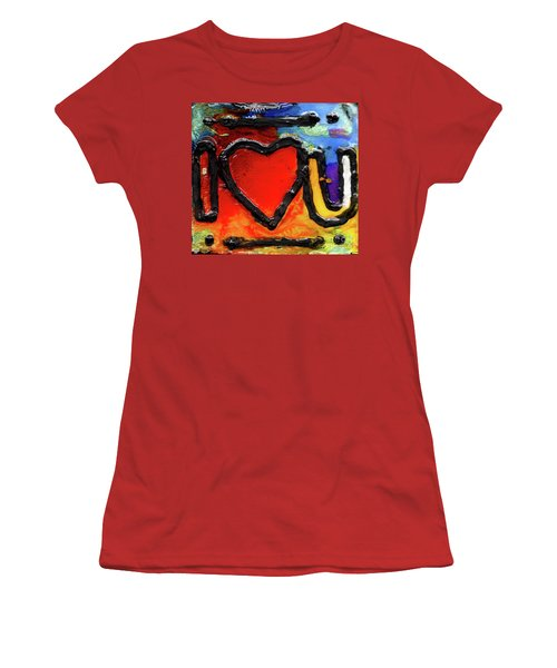 Women's T-Shirt (Junior Cut) featuring the painting I Heart You by Genevieve Esson