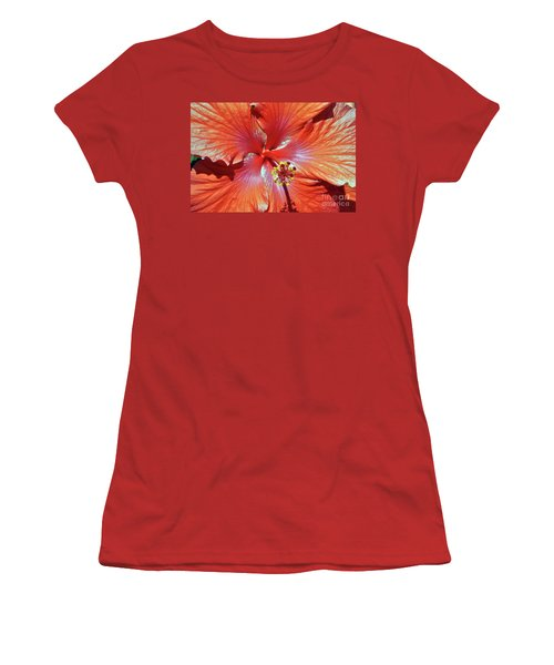 I Love Orange Flowers 2 Women's T-Shirt (Athletic Fit)
