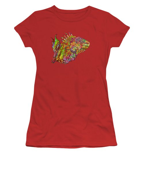 Women's T-Shirt (Junior Cut) featuring the mixed media Iguana Hot by Carol Cavalaris