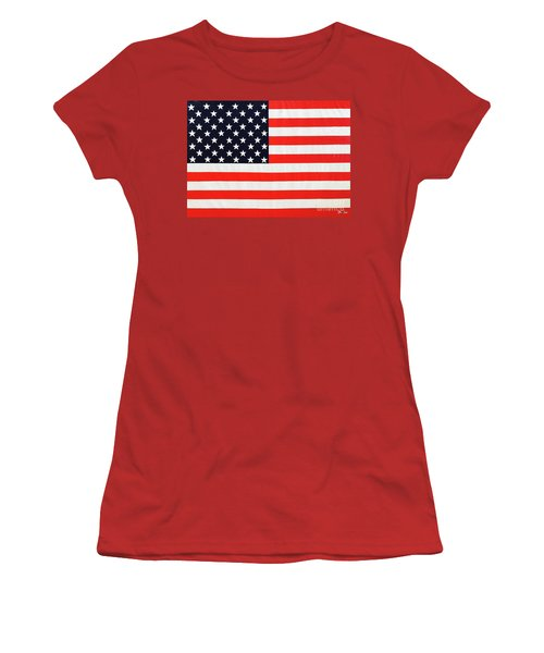 Independence Day Large Scale Oil On Canvas Original Landscape American Flag United States Flag Women's T-Shirt (Athletic Fit)