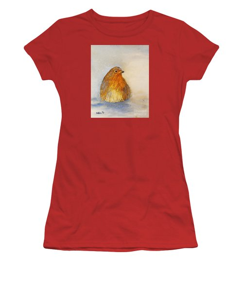 Women's T-Shirt (Junior Cut) featuring the painting Irish Robin In The Snow by Kathleen Pio