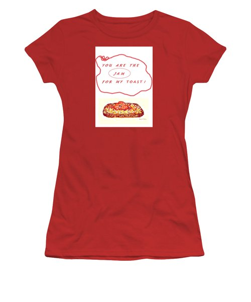 Women's T-Shirt (Junior Cut) featuring the drawing Jam For My Toast by Denise Fulmer