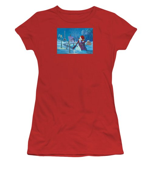 Women's T-Shirt (Junior Cut) featuring the painting Joyeux Noel by Michael Humphries