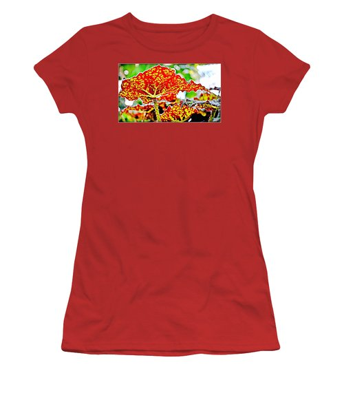 Women's T-Shirt (Junior Cut) featuring the photograph Jungle Leaf by Mindy Newman
