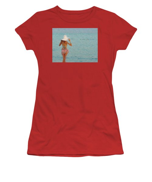 Lady At The Beach Women's T-Shirt (Athletic Fit)