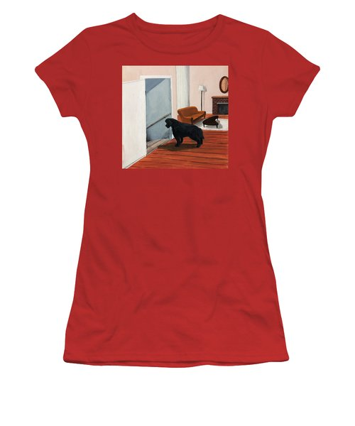 Lady Stares Down The Big Stairs Women's T-Shirt (Athletic Fit)