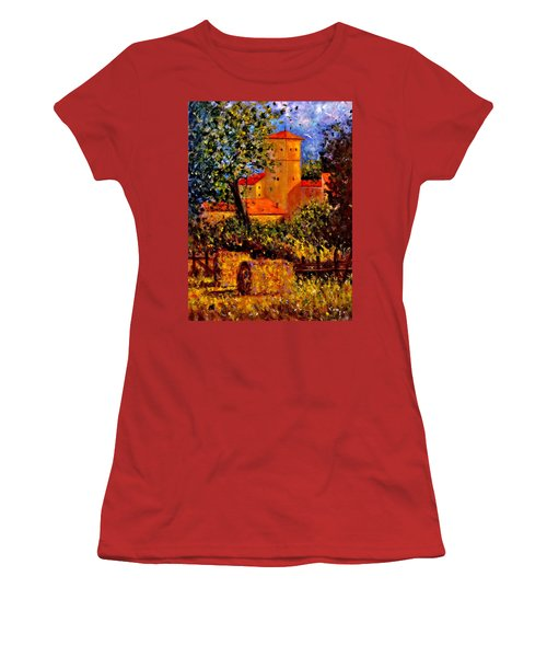 Women's T-Shirt (Junior Cut) featuring the painting A Gust Of Wind.. by Cristina Mihailescu