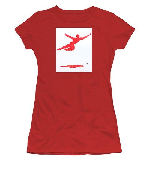 Leap Water Vermillion Women's T-Shirt (Junior Cut) by Shungaboy X