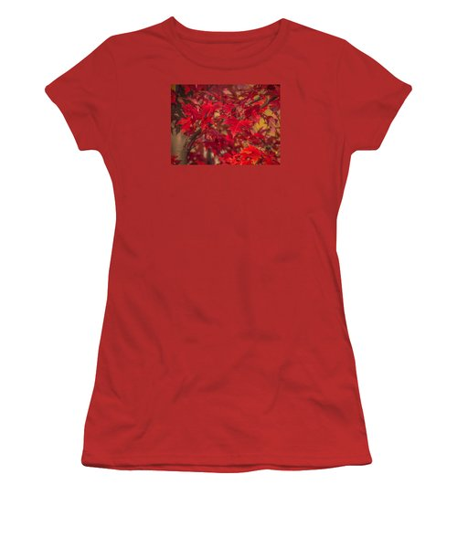 Leaves Of Red Women's T-Shirt (Junior Cut) by Cathy Donohoue