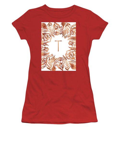 Letter T - Rose Gold Glitter Flowers Women's T-Shirt (Athletic Fit)