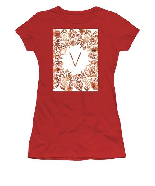 Letter V - Rose Gold Glitter Flowers Women's T-Shirt (Athletic Fit)
