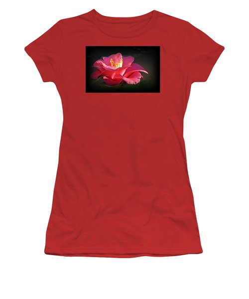 Women's T-Shirt (Athletic Fit) featuring the photograph Lighted Camellia by AJ Schibig