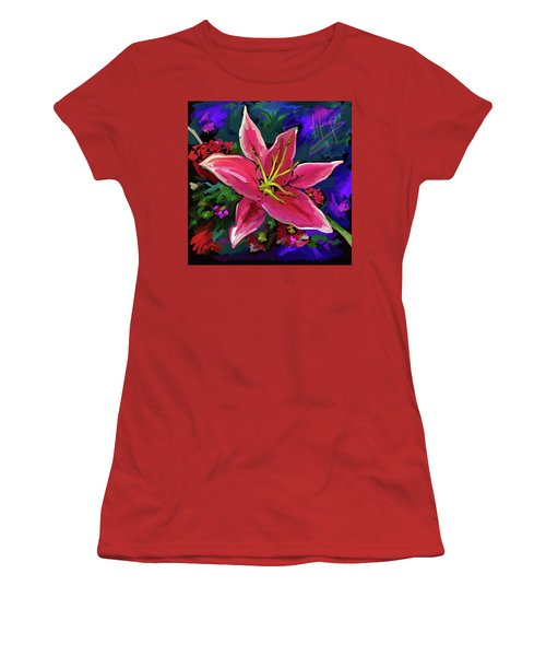 Women's T-Shirt (Junior Cut) featuring the painting Lily by DC Langer