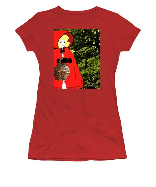 Women's T-Shirt (Athletic Fit) featuring the painting Little Red Riding Hood In The Forest by Marian Cates