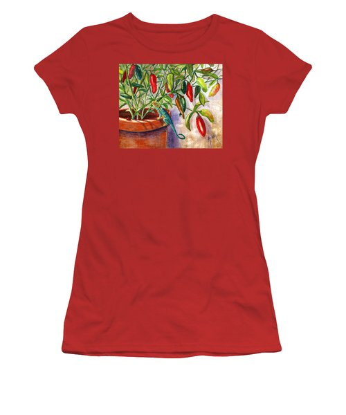 Women's T-Shirt (Junior Cut) featuring the painting Lizard In Hot Sauce by Marilyn Smith