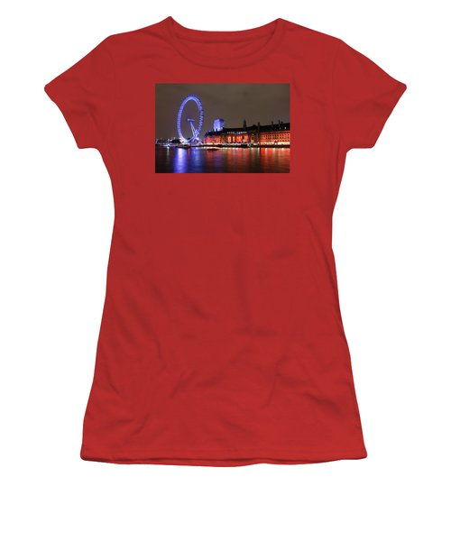 Women's T-Shirt (Junior Cut) featuring the photograph London Eye By Night by RKAB Works