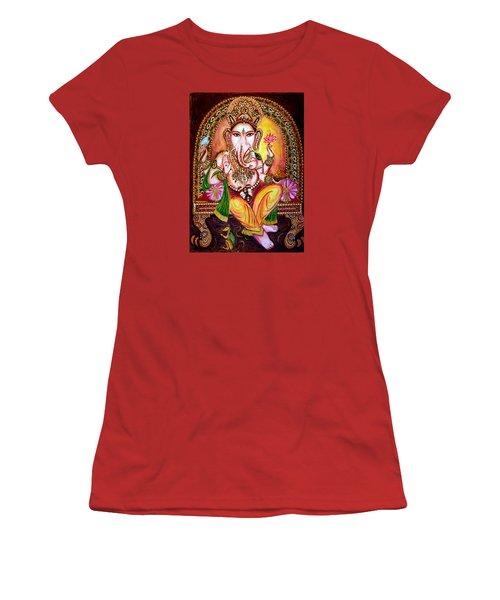 Women's T-Shirt (Junior Cut) featuring the painting Lord Ganesha by Harsh Malik