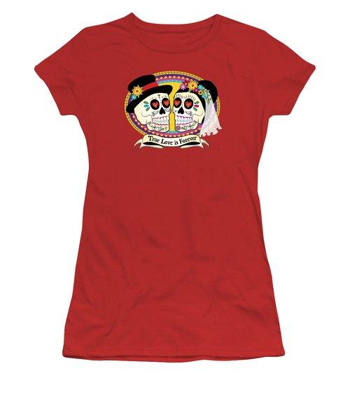 Women's T-Shirt (Junior Cut) featuring the drawing Los Novios Sugar Skulls by Tammy Wetzel
