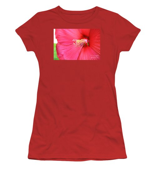 Macro Red Hibiscus Women's T-Shirt (Junior Cut) by Marsha Heiken