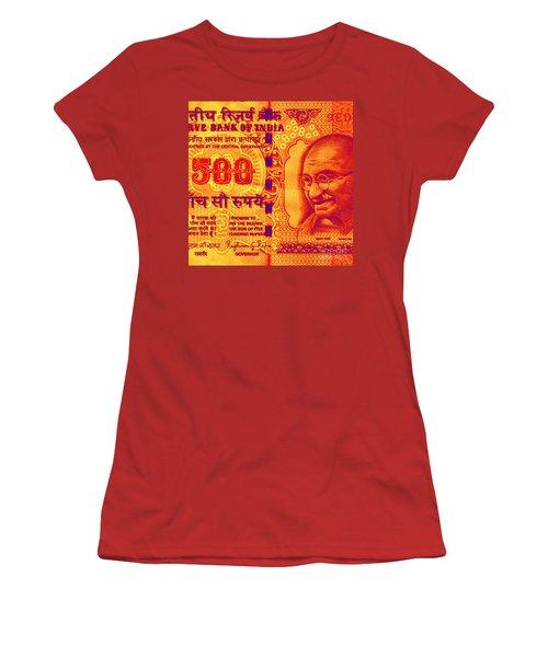 Women's T-Shirt (Junior Cut) featuring the digital art Mahatma Gandhi 500 Rupees Banknote by Jean luc Comperat