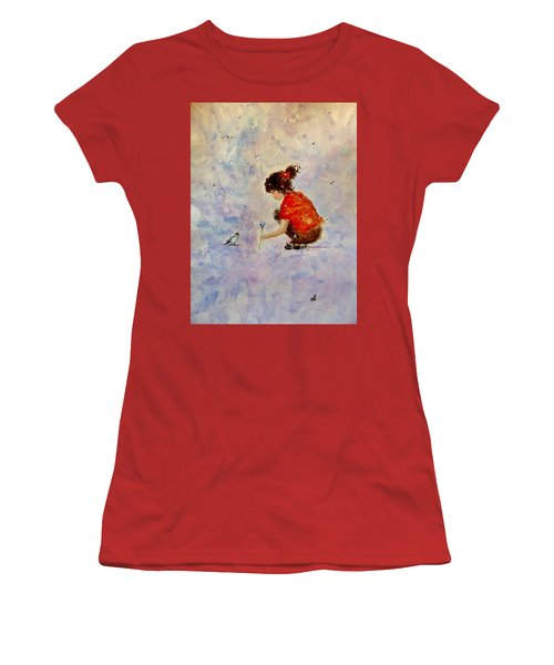Women's T-Shirt (Junior Cut) featuring the painting Make A Wish 20 by Cristina Mihailescu