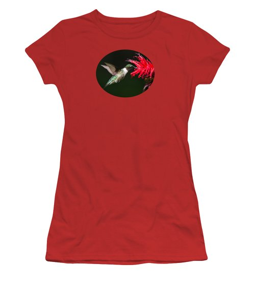 Male Ruby-throated Hummingbird With Red Flower Women's T-Shirt (Athletic Fit)