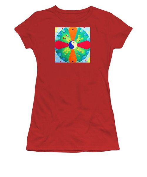 Women's T-Shirt (Junior Cut) featuring the painting Mandala by Denise Fulmer