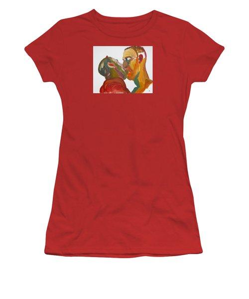Masculine Kiss Women's T-Shirt (Junior Cut) by Shungaboy X