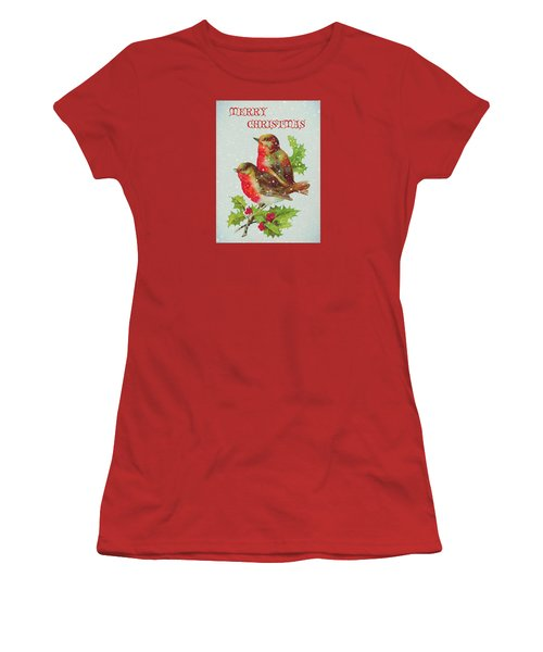 Merry Christmas Snowy Bird Couple Women's T-Shirt (Athletic Fit)