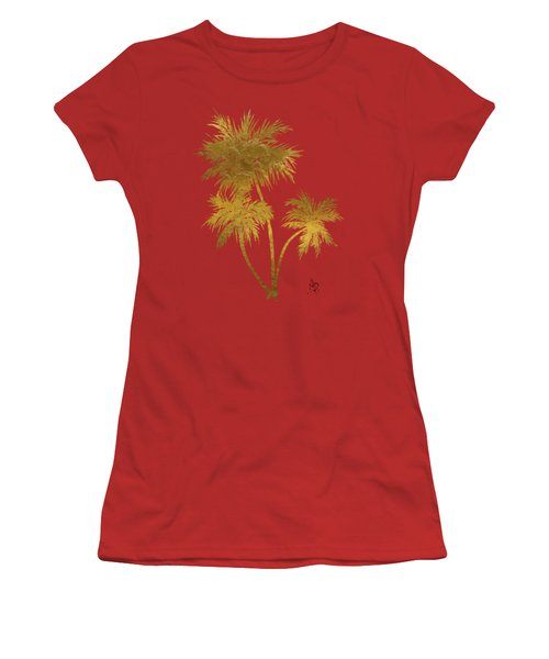Metallic Gold Palm Trees Tropical Trendy Art Women's T-Shirt (Athletic Fit)