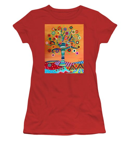 Women's T-Shirt (Athletic Fit) featuring the painting Mhuri by Pristine Cartera Turkus
