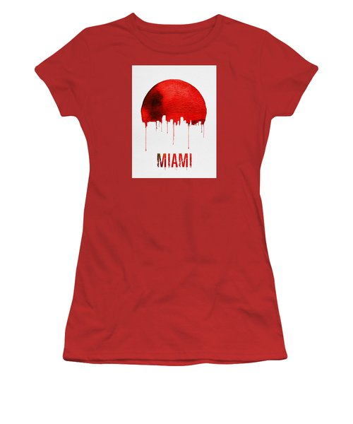 Miami Skyline Red Women's T-Shirt (Junior Cut) by Naxart Studio