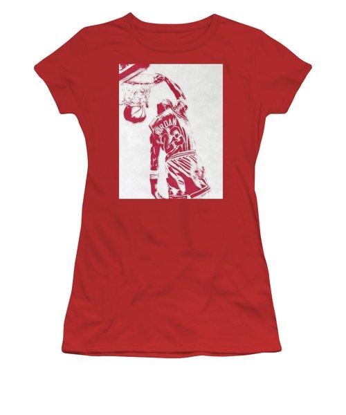 Michael Jordan Chicago Bulls Pixel Art 1 Women's T-Shirt (Athletic Fit)