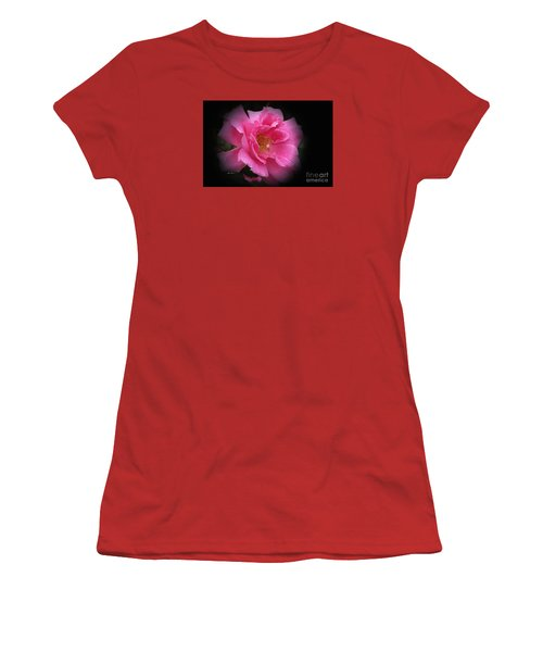 Women's T-Shirt (Junior Cut) featuring the photograph Midnight Rose by Yumi Johnson