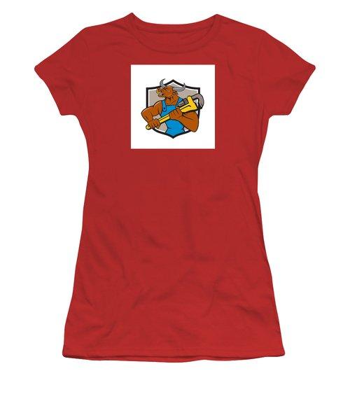 Minotaur Bull Plumber Wrench Crest Cartoon Women's T-Shirt (Junior Cut) by Aloysius Patrimonio