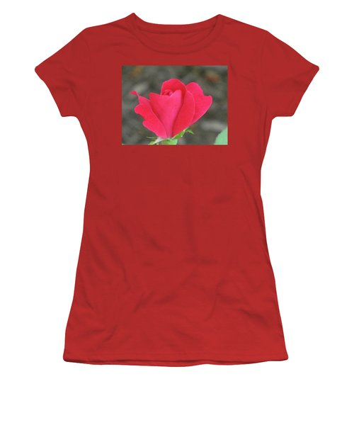 Misty Red Rose Women's T-Shirt (Junior Cut) by Michele Wilson