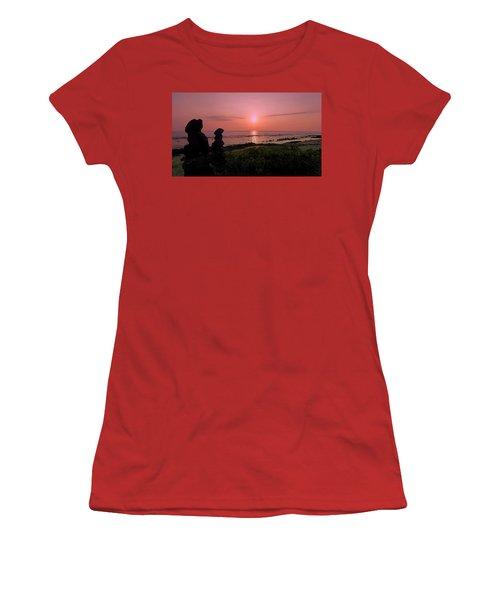 Women's T-Shirt (Junior Cut) featuring the photograph Monoliths At Sunset by Lori Seaman