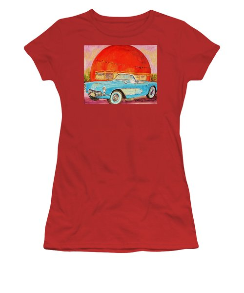 Women's T-Shirt (Junior Cut) featuring the painting My Blue Corvette At The Orange Julep by Carole Spandau