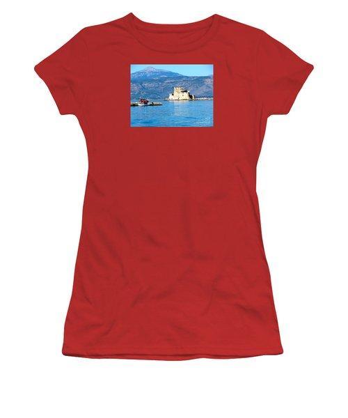 Women's T-Shirt (Junior Cut) featuring the photograph Naflion Greece Harbor Fortress by Phyllis Kaltenbach