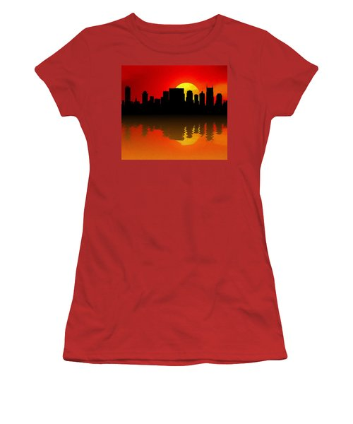 Nashville Skyline Sunset Reflection Women's T-Shirt (Junior Cut) by Dan Sproul