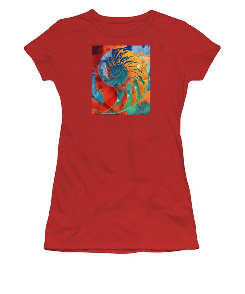 Nautilus Shell Orange Blue Green Women's T-Shirt (Athletic Fit)