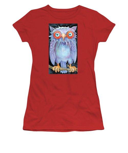 Women's T-Shirt (Junior Cut) featuring the painting Night Owl by Lora Serra