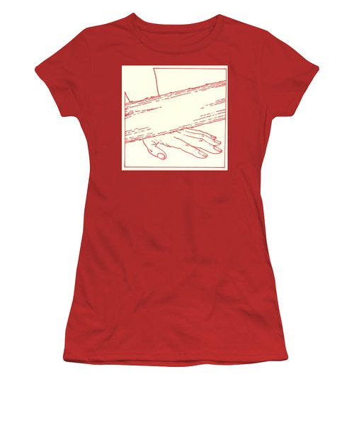 Women's T-Shirt (Athletic Fit) featuring the drawing Ninth Station- Jesus Falls The Third Time by William Hart McNichols