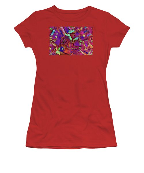 Women's T-Shirt (Athletic Fit) featuring the mixed media No Sense Of Humor 17 by Lynda Lehmann