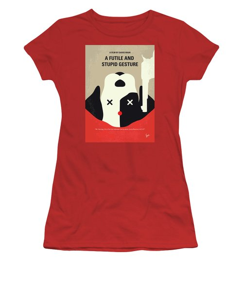 No893 My A Futile And Stupid Gesture Minimal Movie Poster Women's T-Shirt (Athletic Fit)