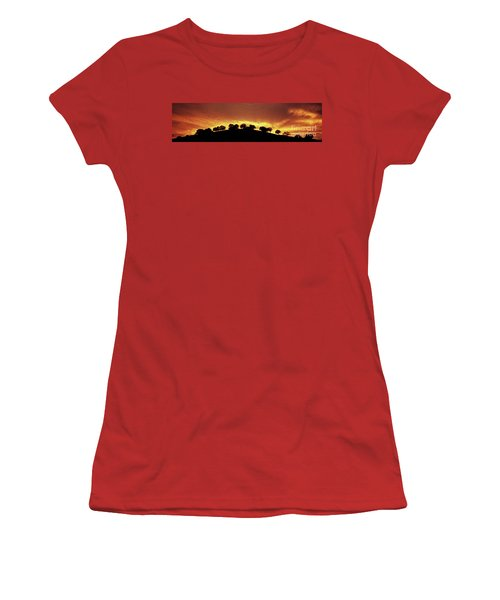 Women's T-Shirt (Junior Cut) featuring the photograph Oaks On Hill At Sunset by Jim and Emily Bush
