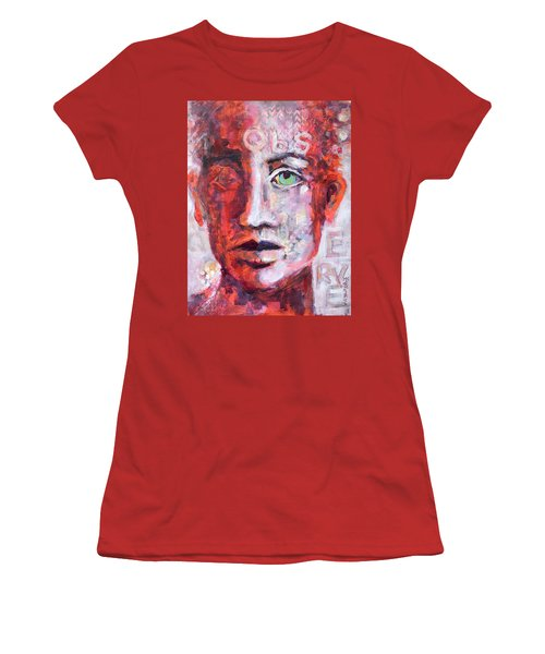 Women's T-Shirt (Junior Cut) featuring the painting Observe by Mary Schiros