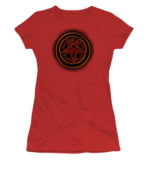 Occult Magick Symbol On Red By Pierre Blanchard Women's T-Shirt (Junior Cut) by Pierre Blanchard