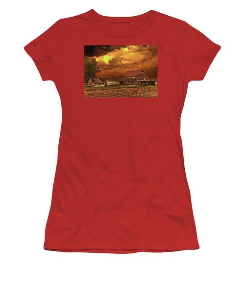 Women's T-Shirt (Athletic Fit) featuring the digital art Old Barn At Sunset by PixBreak Art
