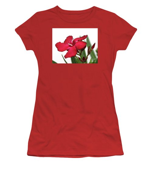 Women's T-Shirt (Junior Cut) featuring the photograph Oleander Blood-red Velvet 2 by Wilhelm Hufnagl